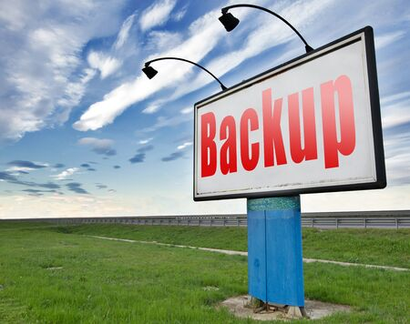 data archiving: backup data document or file online on copy in the cloud on a harddrive disk on a computer or server for file security