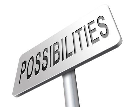 Possibilités et opportunités alternatives route réalisation panneau d'affichage Banque d'images - 56266282