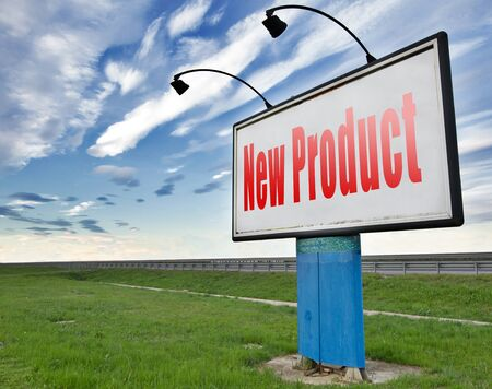 newest: new product coming soon announcement arriving and available soon advertising news, road sign, billboard.