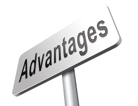 advantages: Advantages and benefits, competetive advantage in business and marketing. Stock Photo