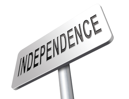 active adult community: Independence independent life for the elderly disabled or young people, road sign billboard.