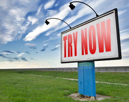 to try: Try now road sign free trial product promotion