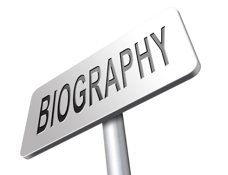 biography: Bio button or biography leading to the story of your life about sign my life story Stock Photo