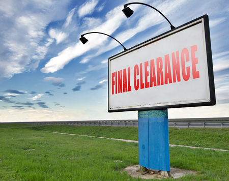 webshop: final clearance and big stock sale road sign for webshop sales or web shop billboard