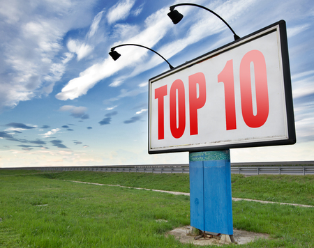 ten best: top 10 charts list pop poll result and award winners chart ranking music hits best top ten quality rating prize winner road sign billboard