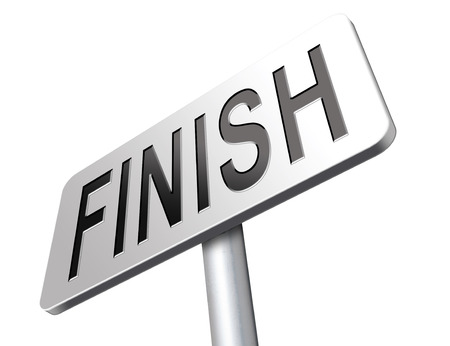 start to cross: finish the end of the competition an exit out of problems road sign, billboard.