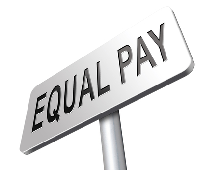 same: Equal pay same payment rights for man and woman on work marked fair payment opportunities with same salary, road sign billboard. Stock Photo
