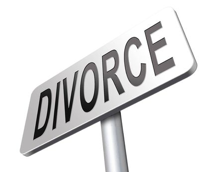 alimony: Divorce papers or document by lawyer to end marriage dissolution often after domestic violence alimony. Stock Photo