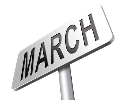 next year: March to next month of the year early spring event calendar, road sign billboard.