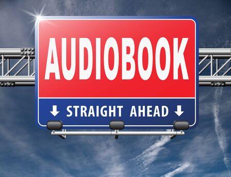 audio book: audiobook, listen online or buy and download audio book; road sign, billboard. Stock Photo