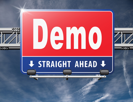 Demo for free trial download demonstration, billboard. Stock Photo