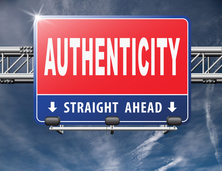 authenticity: authentic quality guaranteed label authenticity guarantee assurance label for highest product control, road sign billboard.