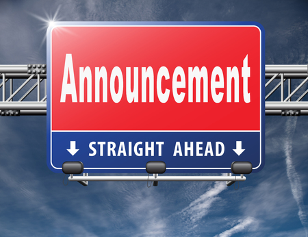 important sign: Announcement of important message, road sign billboard. Stock Photo
