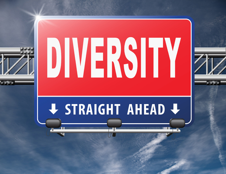 political and social issues: Diversity towards diversification in culture ethnic social age gender genetics political issues, road sign billboard.