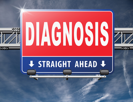 opinion: Diagnosis medical diagnostic opinion by doctor ask for second opinion, road sign billboard. Stock Photo