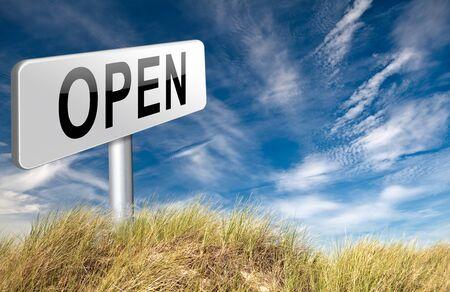 open teken aangeeft openingsuren van winkels