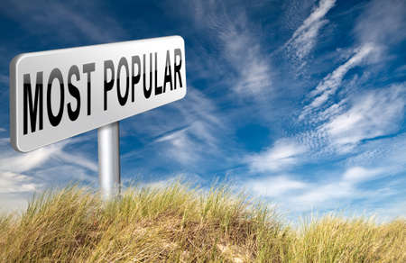 bestseller: most popular sign popularity road sign billboard for wanted bestseller or market leader and top product or rating in the charts