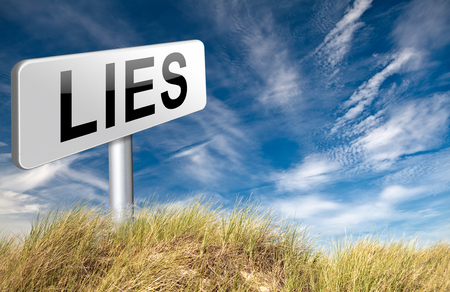 deception: Lies breaking promise break promises cheating and deception lying, road sign billboard. Stock Photo