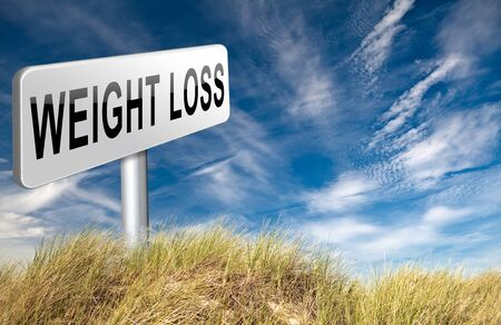 weight loss lose extra pounds by sport or dieting losing overweight kilos and stop obesity road sign billboard