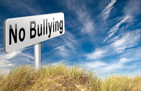 stopping: Stop bullying at school or at work stopping an online internet bully Stock Photo