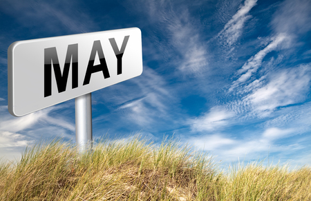 next year: May to next month of the year spring event calendar, road sign billboard. Stock Photo