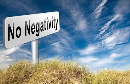 thinking of you: stop negativity and pessimism, no pessimistic thoughts dont think negative but positive and optimistic thinking makes you happy Stock Photo