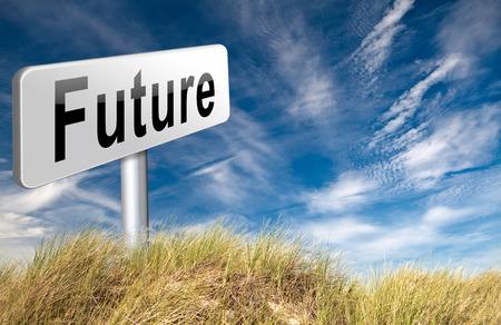 vision futuro: Future vision futuristic, road sign billboard. Foto de archivo