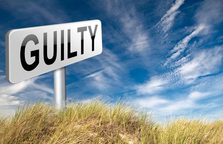 accuse: Guilty as charged guilt and convicted for a crime in court, road sign billboard. Stock Photo