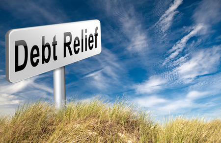 restructuring: Debt relief after bankruptcy caused by credit or housing bubbles, restructuring finance after economic or bank crisis, road sign billboard.