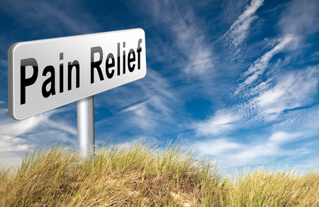 chronic back pain: Pain relief or management by painkiller or other treatment of chronic back pain, road sign billboard. Stock Photo