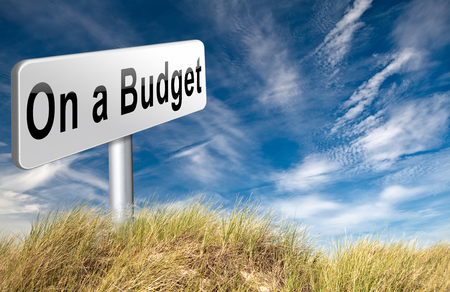 deficit: Budgeting the income for deficit or on a budget with a restricted amount of money. Household budget Average revenue and expediture. Stock Photo