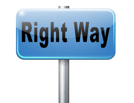 difficult decision: Right way decision or direction for answers on questions, road sign billboard.