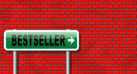 bestseller: Bestseller, most popular road sign popularity billboard for best seller or market leader and top product or rating in the charts
