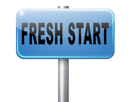 fresh start: new fresh start or chance back to the beginning and do it again road sign billboard Stock Photo