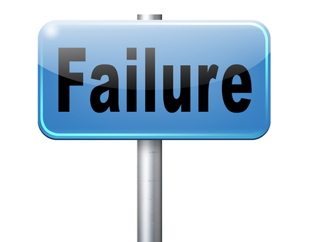 defeated: failure fail exam or attempt can be bad especially when failing an important job task or in your study failing an exam. You feel frustrated and being a looser, road sign billboard