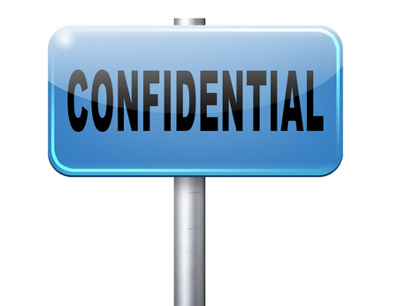 top secret: confidential top secret classified personal information, road sign billboard.