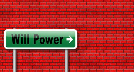 will power: Will power self motivation bite the bullet and set your mind to it, road sign billboard. Stock Photo