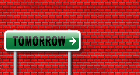 new beginning: tomorrow sign icon or next day coming soon what will the future bring a new beginning announcement Stock Photo