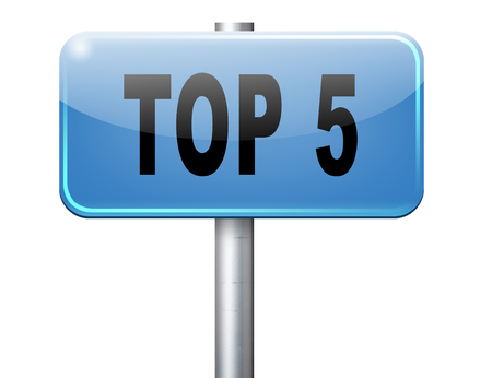 poll: top 5 charts list pop poll result and award winners chart ranking music hits best top five quality rating prize winner road sign billboard