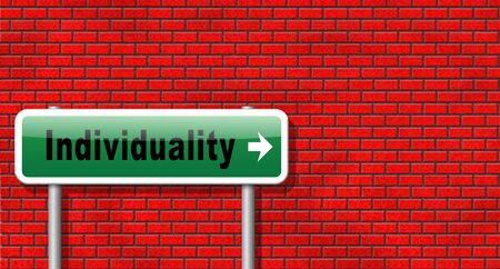 personality development: Individuality stand out from crowd and being different, having a unique personality be one of a kind. Personal development and existence, road sign billboard.