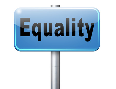 invalidity: Equality and solidarity equal rights and opportunities no discrimination, road sign, billboard. Stock Photo