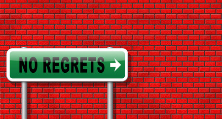 regret: Regret or no regrets saying sorry and offer apologize being ashamed for bad decisions Stock Photo