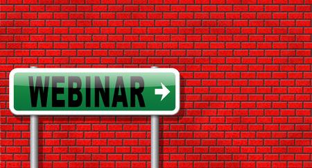 online conference: webinar online conference internet web meeting or workshop live video chat Stock Photo