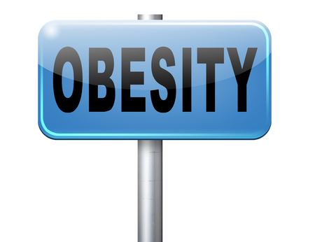over weight: Obesity and over weight or obese people suffer from eating disorder and can be helped by dieting, road sign billboard.