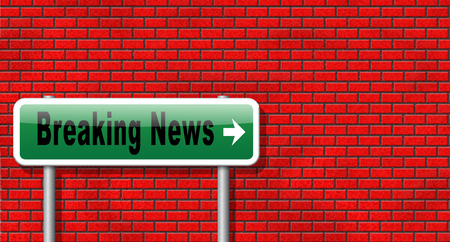 hot news: Latest hot news breaking latest article or press release on a daily basis road sign billboard