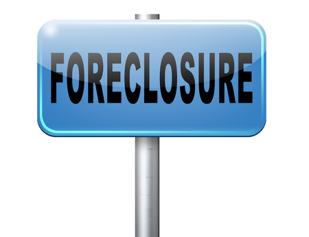 paying money: foreclosure auction notice mortgage house loan paying money costs back to bank to avoid foreclosures and repossession problems billboard sign