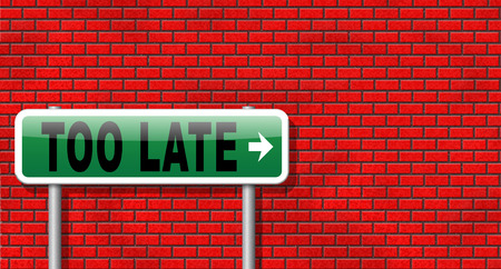 too late: too late time is up and you missed appointment or the deadline train or flight connection Stock Photo