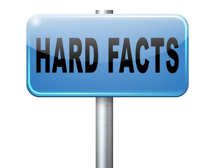 proven: hard facts or proof, scientific proven fact, road sign billboard. Stock Photo