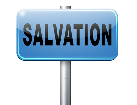 the salvation: salvation follow jesus and god to be rescued save your soul, road sign billboard. Stock Photo