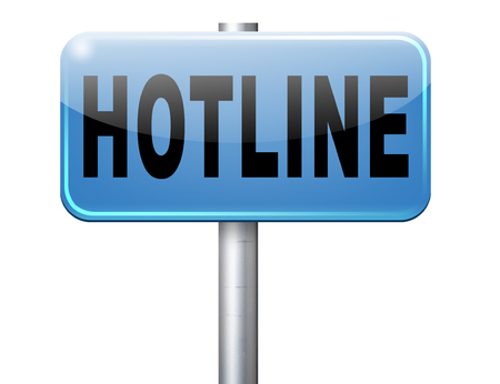 hotline: hotline icon call center button or helpline sign for online customer support Stock Photo